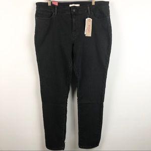 Levis Black 711 Skinny Mid Rise Jeans